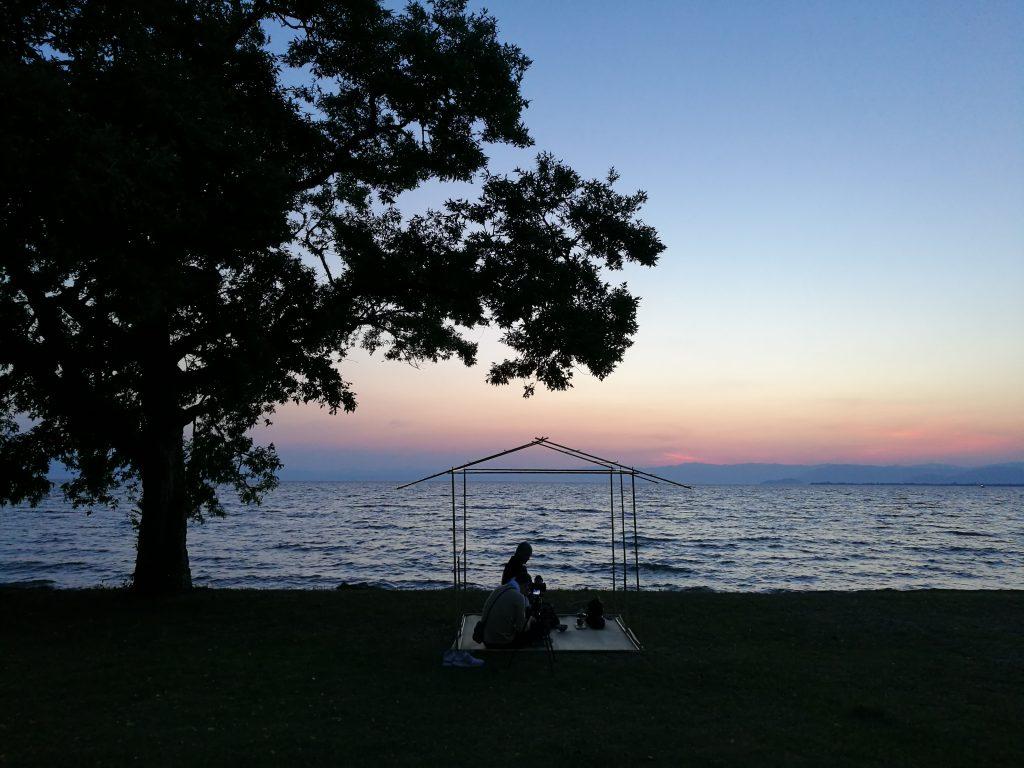 日本一大きな琵琶湖の夕陽と帰庵 2017年5月