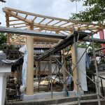 京都嵐山西光院山門新築工事 北山丸太の垂木