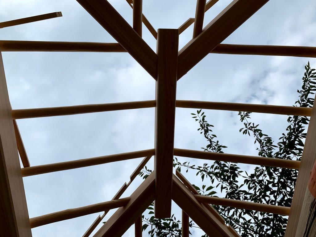 京都嵐山 西光院 山門新築工事 北山丸太の垂木