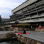 国立京都国際会館の庭でお茶会 竹の茶室帰庵