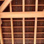京都嵐山 西光院 山門新築工事 杉皮の軒天