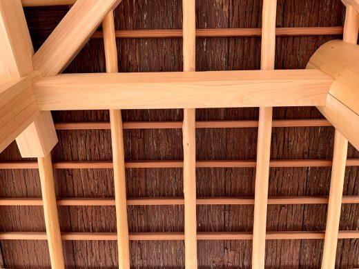 京都嵐山 西光院 山門新築工事 軒天杉皮